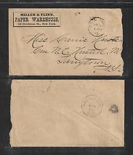 1883 MILLER & FLINN PAPER WAREHOUSE NEW YORK US ADVERTISING COVER No Stamp