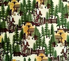 "Cotton Quilt Fabric Warmth Christmas Friendship Santa Father Pines 40"" x 44"""
