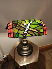 Vintage Tiffany Style Dragonfly Banker's Desk Lamp
