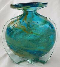 Mdina Side Stripe  Maltese Glass Vase Blue yellow
