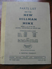 PARTS LIST FOR NEW HILLMAN MINX 6600783 Series 1 2 3 3a Saloon Estate 1960