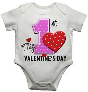 Baby Vest Bodysuit grow My First 1st Valentines Day Toddler Newborn Gift White