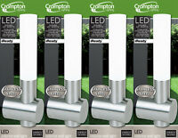 4 x Stainless Steel & Frosted Acrylic LED Wall Lights 1W Cool White