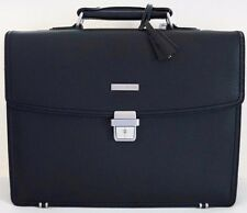 NWT Brooks Brothers Briefcase Attache Padded Laptop Bag Black Leather Travel