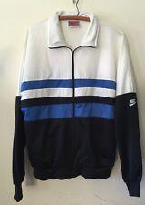 Vintage 1980s Nike Gray Tag Blue White Black Track Suit Jacket Sz L