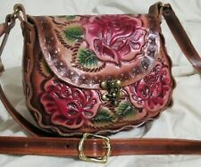 New embossed genuine mexican latigo leather purse Hand Tooled/embroidered medium