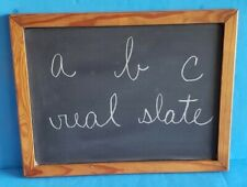 Vintage Original Double-Sided Slate Chalkboard w/ Wooden Frame & Box of Chalk