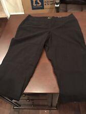 Dalia Womens Pull On Capris Sz 20W Black Stretch Pocket Crop Pants NWT