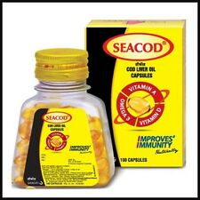 Seacod COD Liver Fish Oil Softgels | Natural Omega-3, DHA, Vit A | Eyes Heart