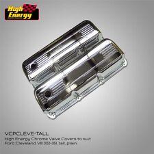 HIGH ENERGY Chrome Rocker Covers  - Ford Cleveland V8 302 - 351 - TALL, no logo