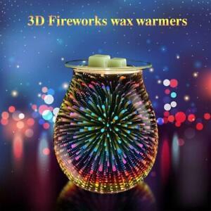 Electric Oil Burner Wax Melt Melter 3D Firework Glass Lamp Night Light Warmer