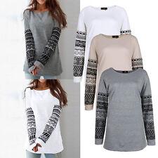 Damen Pullover Bluse T-Shirt Langarm Shirts Pulli Oberteil Blusen Hemd Gr.34-44