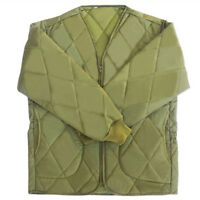 Mens Field Jacket Liners Warm Inner V Neck Quilted Jacket Khaki US XS-XL