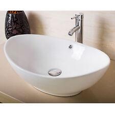 Bathroom Oval Ceramic Vessel Sink Bowl Pop-up Drain Faucet Combo