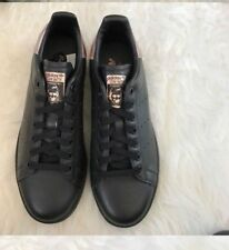 NWOB adidas Core Black W/Rose Gold STAN SMITH Classic Trainers Women's Size 8.5