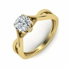 1 Ct Round Solitaire Diamond Engagement Ring Solid 10KT Yellow Gold Diamond Ring