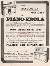 Publicité  Piano Erola Instrument de Musique  photo vintage print ad 1914 -2j