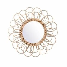 Hanging Circular Wall Mirror Rattan Wicker Dressing Makeup Decorative Mirrors
