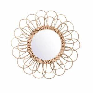 Hanging Circular Wall Mirror Rattan Wicker Dressing Makeup Decorative Mirrors