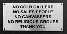 Door Sign - No Cold Callers, Sales People, Canvassers !! 100x50mm