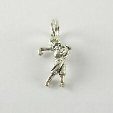 miniatura Mujer Golfista COLGANTE CHARM .925 Plata de Ley USA MADE Giratorio
