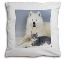 Samoyed and Cat Soft Velvet Feel Cushion Cover With Inner Pillow, AC-18-CPW