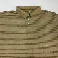 Dockers Golf Polo Shirt Men's Size 2XL XXL Short Sleeve Tan Striped 100% Cotton