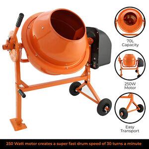 Cement Concrete Mixer Electric Mortar Plaster Drum Mixing Portable / 70L 240V