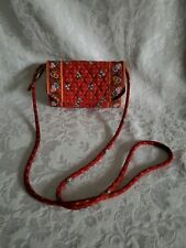 Vera Bradley Mini Crossbody Red Floral Quilted 5x8.5' Mint