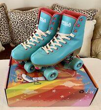 Impala roller skates size 8 Aqua with pink dance plugs white laces