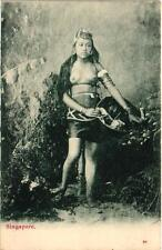SINGAPORE NUDE NATIVE WOMAN VINTAGE ethnic POSTCARD 1900S