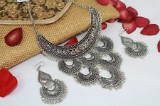 Bollywood Ethnic Indian Antique Silver Tribal Jewellery Necklace Earrings NS553