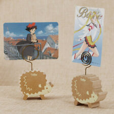 Pack of 2 Hedgehog Pattern Photo Card Note Memo Table Holder Clip Wooden