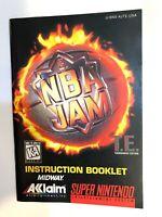 NBA Jam TE Tournament Edition T.E. SNES Super Nintendo Instruction Manual Only