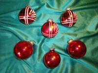 ~  6 alte Christbaumkugeln Glas rot Streifen Glitzer Christbaumschmuck Vintage ~