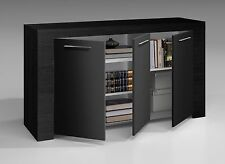 Black Oak Zenia Modern Living Room Furniture Large 3 Door Sideboard