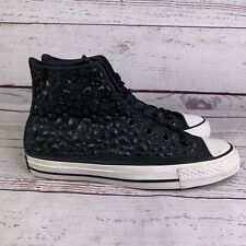 Converse Womens Rhinestone Black High Top Beaded Sneakers Shoes Size 8