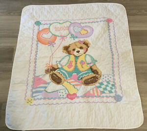 Vintage Crib Quilt, Cross Stitch Embroidery, Teddy Bear, Heart Balloons, Cotton