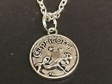 "Zodiac Capricorn Sign Charm Tibetan Silver with 18"" Necklace Z1"