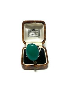 Lovely Vintage Sterling Silver 925 Chrysoprase Agate Ring Size P Heavy 7g #822