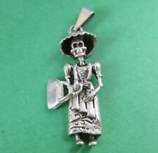 Mexican Silver Taxco Dia de Muertos CATRINA Day of the Dead Skeleton  Pendant