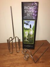 NEW Oenophilia Stake Set for Wine 1 Bottle2 Stem Holders  Beach~BBQ~Picnic~Park
