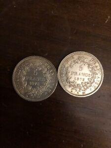 Lot de 2 Pièces de 5 Francs Hercule - Argent 900 % - Année 1873 - N° 15