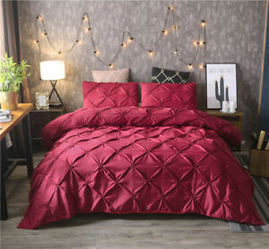 Luxurious Pinch Pintuck Pleated Duvet Cover Set Comforter Pillowcase Bedding Set