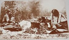 Postcard Plains Sioux Indian Women Preparation for Dinner Sepia Unposted New