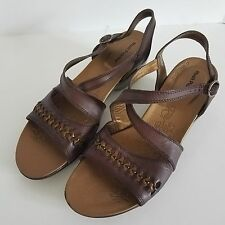 Hush Puppies Open Toe Sandals 10M Brown Leather Straps Side Buckle EU 42N UK 8N