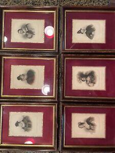Set of 6 Vintage Sungott Art Studios Hand Colored Framed English People Prints