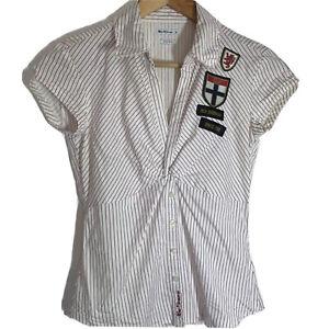 Ben Sherman Fitted White Shirt Fine Red Stripe Cotton Stretch XS Size 6 8 Y2K 90