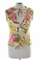Sisi Womens Vest Top Size 10 Small Multi Floral Cotton