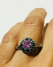 18K White Gold Plated Ring w/Pink Sapphire & London Blue Topaz, US 7, EU 53